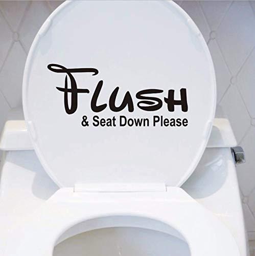 WFYY Herunterladen und Sitz unten Bitte WC Badezimmer Text Adhesives Dekoration Accessoires Schwarz