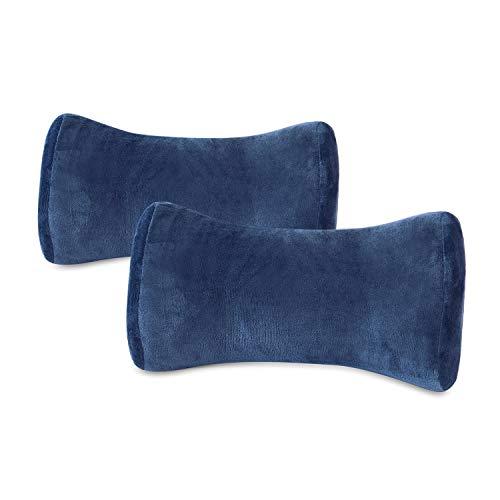 Hankey cuscino supporto collo per auto in memory foam | cuscino da viaggio ergonomico per sedile auto, suv, bus, treno, aereo traspirante ipoallergenico blu scuro | 2 confezioni – forma osso