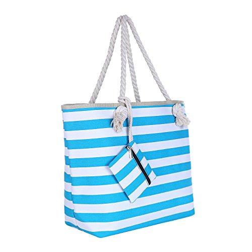 Borsa da spiaggia grande con chiusura zip 58 x 38 x 18 cm Shopper stile marinaro a righe turchesi e bianche beach bag