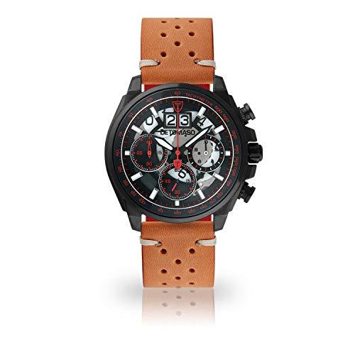 DETOMASO LIVELLO DT2060-B-844 - Reloj de Pulsera para Hombre, cronógrafo, analógico, Cuarzo, Correa de Cuero marrón, Estilo Vintage, Esfera Negra