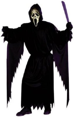 Herren Schwarz Gespenstergesicht Scream mit Maske Halloween Kostüm Kleid Outfit (Scream Outfit)