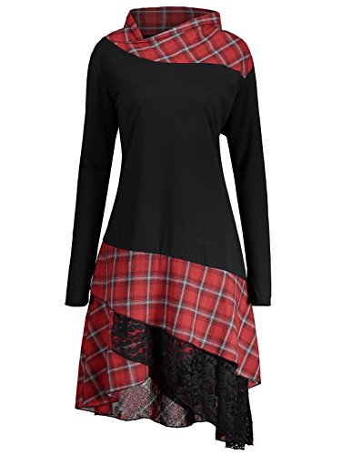 ZAFUL Lace Plaid Panel Plus Size Kleider Women's Long Sleeve Beiläufige Loose T-Shirt Dress Blouse Top?BLACK AND RED 52? (Plus Size T-shirt-kleider)