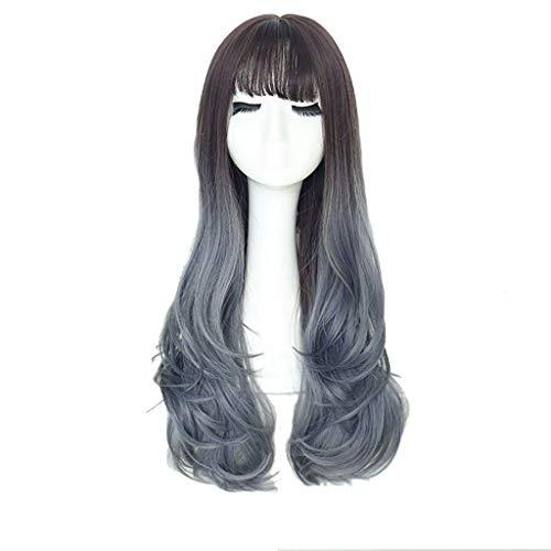 LIHY Perücke weiblich, Lange lockiges Haar große Welle Flauschige natürliche Lange gerade Haarnetz rot süße Luft Pony Gradient Frisur Set (Farbe : Chocolate Gradient Gray Blue)