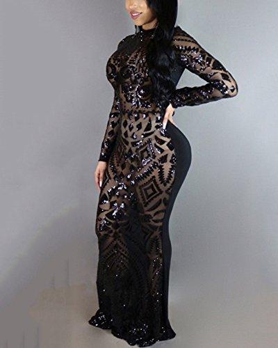 Damen Elegant Pailletten Kleid Abendkleider Langarm Cocktailkleid Prom Dress Lang Schwarz XL - 2