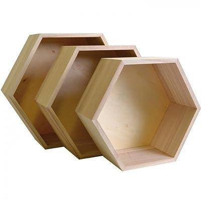 3 wood shelves - Hexagone - inexpensive UK light shop.