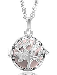 Eudora Harmony Ball Family Tree Pendentif pour femmes Argent Médaillon Ange Sons de Bell