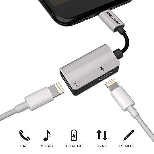 aROTaO Adattatore & Sdoppiatore, 2 in 1 Doppio Cuffia Audio & Carica Adattatore Aluminum Compatible per iPhone 7/7 Plus, iPhone 8/8 Plus, iPhone X -Scheggia