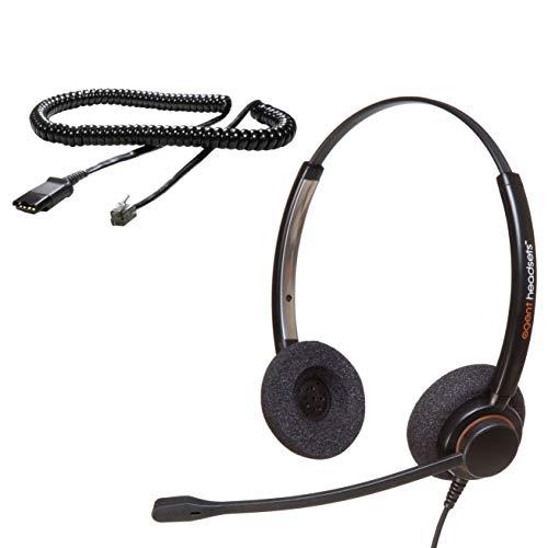 Agent AP-2 Professionelles Doppelohr-Rauschunterdrückungsbüro/Call Center-Headset (U10P-Kabel im Lieferumfang enthalten) Funktioniert mit Polycom VVX-, IP- und CX-Telefonen, Gigaset, Alcatel + mehr Alcatel-telefone