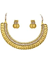 JFL - Traditional Ethnic Temple Laxmi Goddess Coin One Gram Gold Plated Diamond Designer Necklace Set For Women...