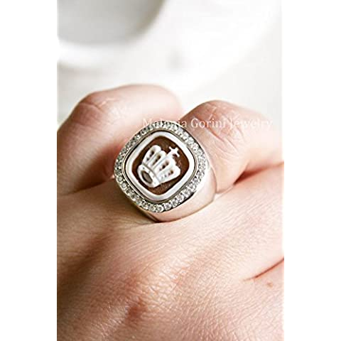 Anello in argento 925 regolabile con cammeo autentico, scolpito su conchiglia Sardonica, cornice con zirconi-CORONA-anello Chevalier