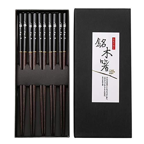 Bacchette di legno, totken 5paia di bacchette di legno naturale di grado superiore in stile giapponese per sushi tagliatelle insalata barbecue piatto cinese con confezione regalo