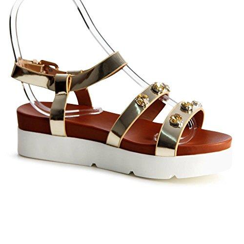 topschuhe24763parement de sandales femme Or - Doré