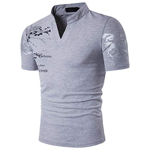 Herren Performance Poloshirt,Saingace Männer T-Shirt Slim Fit V-Ausschnitt Kurzarm Muscle Casual Tops T Shirts -