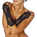 12060 Long Lace Gloves with Small Beads Black