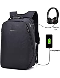 Vault Anti Theft Number Lock Laptop Bag Water Resistant Oxford Laptop Backpack With USB Charging Port And Headphones...