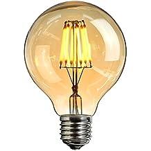 Bombilla LED Edison, Elfeland® Edison Bombilla LED Retro Bulbo E27 6W Bombilla LED Retro Estilo Industrial Dimmable 2200K Jaula Ardilla Filamento Modelo Amber Glass G80 (φ80mm) 1 Pack