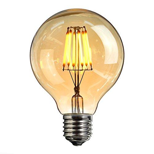 6 Hitze-schalter (Vintage LED Edison Glühbirne, Elfeland E27 6W Antike LED Filament Lampe Dekorative Glühbirne (2200K, Dimmbar, Modell G80) Amber Glas Ersetzt 60W Ideal für Nostalgie und Retro Beleuchtung 1 Pack)