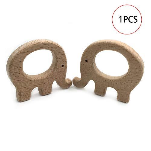 1pc Natürliches Holz-Baby-Beißring Spielzeug Tierfett Elefant Molar Spielzeug FineDevelopment und sensorische Fähigkeiten Spielzeug Perfekter Dusche-Geschenk Accessorie und Dekoration - Elefanten-dusche