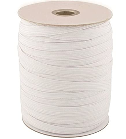 1m x 12mm White Flat Woven Elastic Band for Sewing, Knitting, Waistbands and Arts & Craft by Trimming