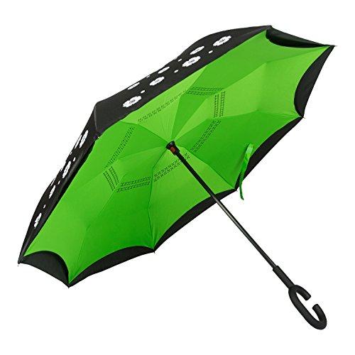 Umgekehrter Regenschirm für Autos mit einem Tropffreien System. Diese Umgedrehter Schirm Heiβt Winddicht, Hochwertig, Für Herren und Damen. Ray UV Schutz. Geschenk: Tasche. Garantie (Blumen Grün)