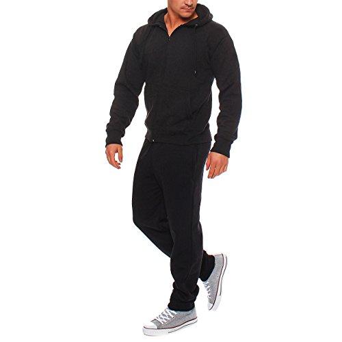Hype Inc Herren Jogging Anzug Trainingsanzug Sweatshirt Hose Sportanzug Schwarz