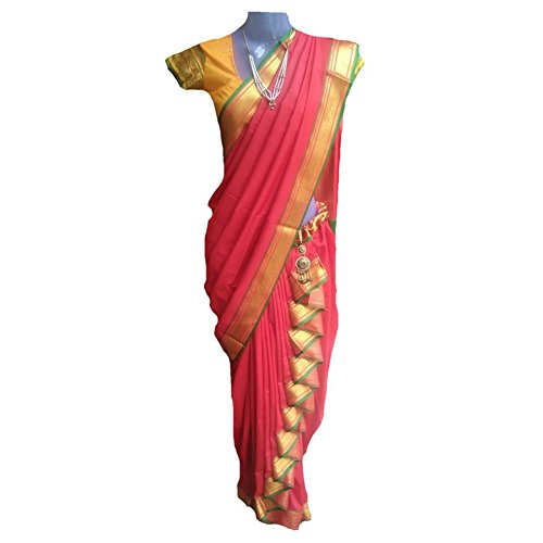 JAY VITHAI TRADITION Ridhi-Sidhi / Chabidar Special Shahi Mastani Nauvari Red Silk...