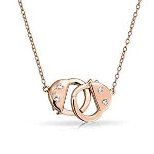 Bling Jewelry Rose Gold Plated 925 Silver CZ Handcuff Necklace Secret Shades