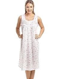 Chemise de nuit classique sans manches - motif floral rose - blanc