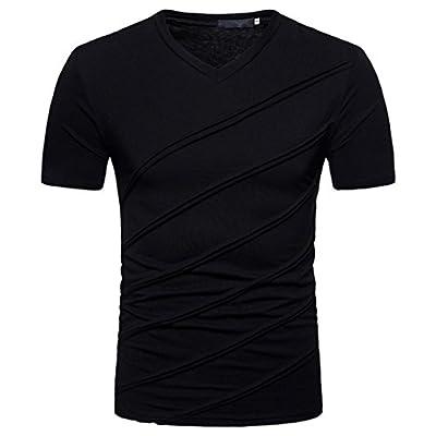 SUCES Herren T-Shirt V-Ausschnitt Slimfit Stretch Dehnbare Passform Einfarbiges Basic Shirt Herren Sportshirt Funktionsshirt Kurzarm für Sport Feuchtigkeitsabführend