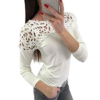 Zarupeng Rundhals Spitzenbluse, Mode Damen Spitze Patchwork Hohlen Crop Tops T-Shirt Bluse Einfarbig Langarm Jumper Slim Fit Shirt Casual Hemd Oberteile (XL, Weiß)