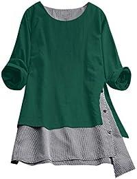 7f7fecac6d750e Innerternet Bluse Damen V-Ausschnitt Langarmshirt Elegant Lose Langarm  Vorne Kurz Hinten Lang Blusen Casual
