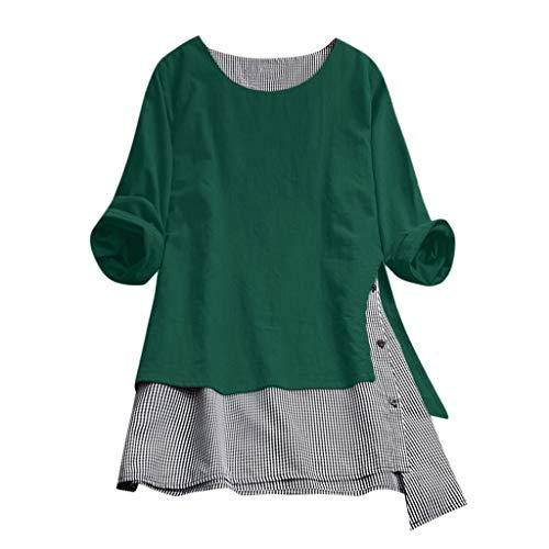 VEMOW Sommer Herbst Elegante Damen Plus Größe Dot Print Lose Baumwolle Casual Täglichen Party Strandurlaub Kurzarm Shirt Vintage Bluse Pulli(Y2-Grün, EU-40/CN-L)