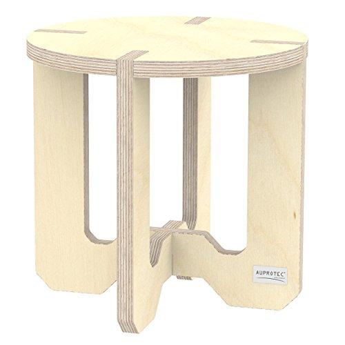 Runde Etagere Rack (AUPROTEC Blumenhocker Beistelltisch HR-44 rund Ø 30cm Birke 31cm hoch Natur Blumenständer Multiplex Birken-Sperrholz in exklusivem Design als Pflanzen-Säule Fußbank Hocker Tisch: unbehandelt)