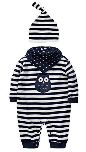 sanmio Neugeborenes Baby Jungen Mädchen Kleidung Strampler Bekleidungssets Baumwolle Langarm Baby Outfits Infant Streifen Jumpsuits mit Hut & Geifer-Lätzchen