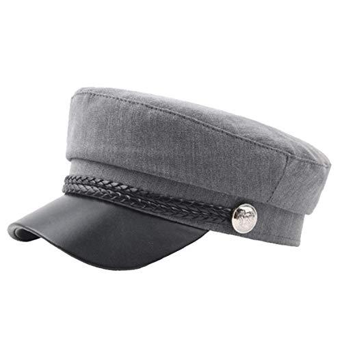 Bontand PU-Leder-Hut Herbst Seemann-Hut Für Frauen-Mann-Flat Top Female Travel Cadet Hat Kapitän Cap (Armee Cadet Kostüm)