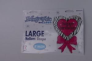 Betallic Globo de corazón con Lazo, 76,2 cm, diseño holográfico