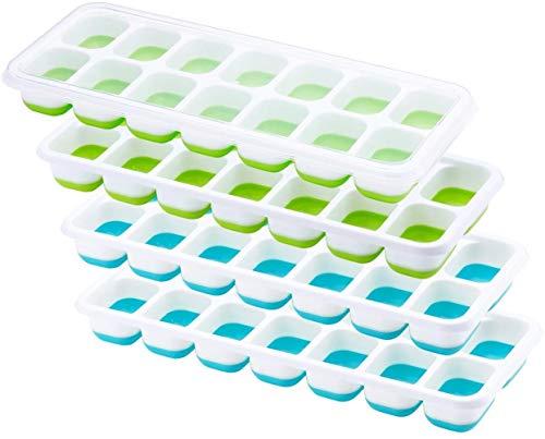 TOPELEK Eiswürfelform, 4 Stück Silikon Eiswuerfel Form Eiswuerfelbehaelter Mit Deckel, LFGB Geprüft und BPA Frei, und stapelbar Langlebig