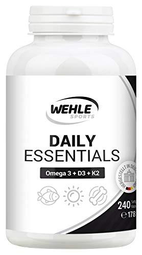 Wehle Sports Daily Essentials Omega 3 Triglycerid Fischöl Mit EPA & DHA Und Vitamin D3, Vitamin K2 K2Vital Delta Mikroverkapselt - 240 Softgel Kapseln