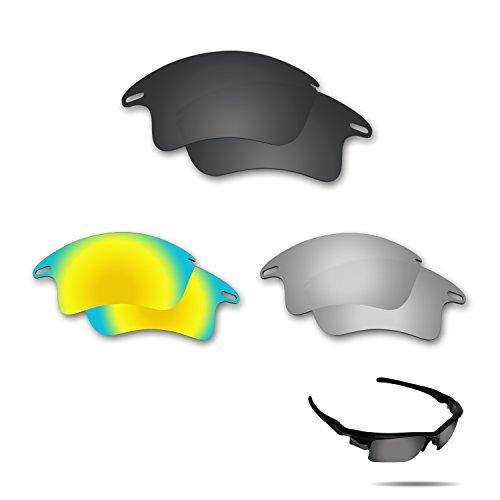 fiskr anti-saltwater Polarisierte Ersatz Gläser für Oakley Fast Jacket XL Sonnenbrille 3Paar Pack, Stealth Black & Metallic Silver & 24K Gold