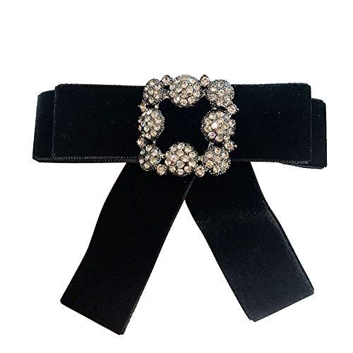 Qinlee Schleife Broschen Flanell Anstecknadeln Schals/Kragen Pin Fliege Einfacher Stil Kleidung Dekorationen Schmuck Geschenk für Damen Mädchen (Schwarz) Stil Bow Tie