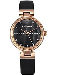 3a7455b9db7 Taylor Cole Reloj Mujer de Moda con Correa de Cuero Cristal Analógico  Cuarzo Reloj de pulsera