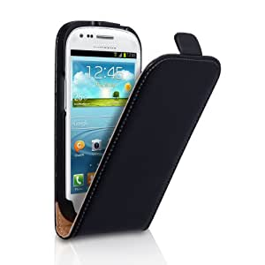 Coque Samsung Galaxy S3 Mini I8190 Etui Véritable Cuir Feuilleter Housse Noir