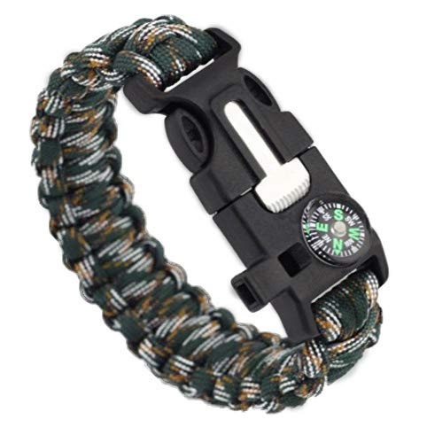Pentaton Outdoor Survival Armband aus Paracord | Feuerstahl | Pfeife | Kompass | Messer | Seil | 5 in 1 Multifunktionales Tool (1 Stück)