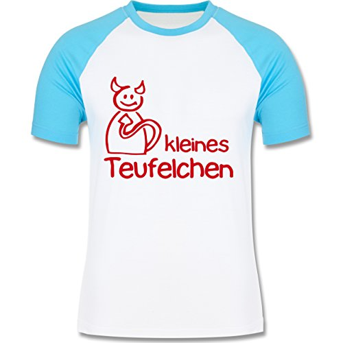Sprüche - Kleines Teufelchen - zweifarbiges Baseballshirt für Männer Weiß/Türkis