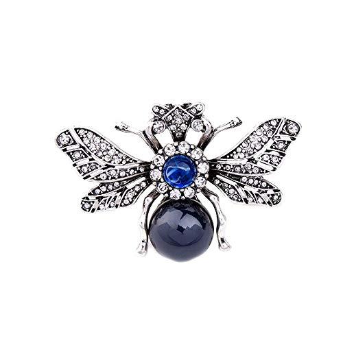 Kostüm Spider Tanz - LYJIAJU Lady Brosche, viktorianischen Stil Perlmutt Körper und Micro Pave Spider Broschen Pins, Silber + blau