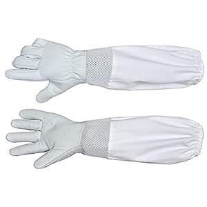 LIOOBO 1 Paar Anti-Milben-Schutzhandschuhe Imkerei Ziegenleder-Schutzhandschuhe Lange Schutzhandschuhe für die Imkerei – (Weiß)