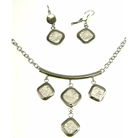 Kala-isbijoux-Collar (42 cm, 6 cm y pendientes) cadenilla () 4 cm, diseño de fantasía con cabochons de metal sin níquel para mujer, color plateado mate