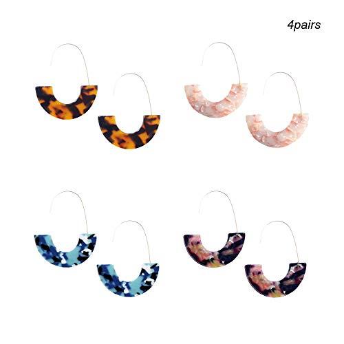 Huture 4 Paar Gesprenkelte Acryl Große Ohrringe U Form Harz Bolzen Ohrringe Set Böhmische Stil Bolzen Tropfen Baumeln Ohrringe Schmucksachen für Frauen Mädchen -