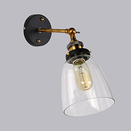 Lampada da parete retro lluce di vetro di stile d'antiquariato industriale edison riparo della parete di ombra e27