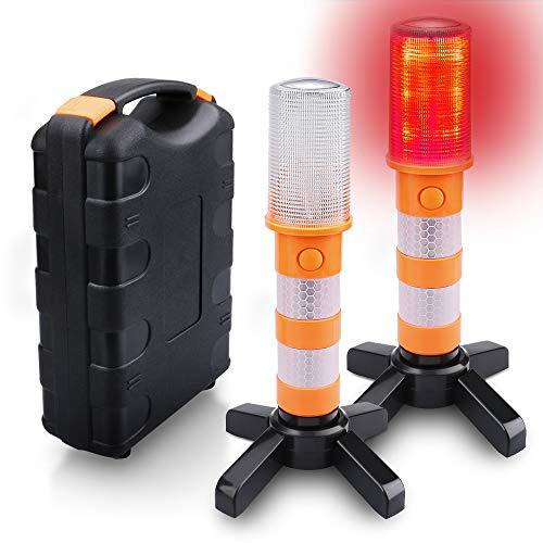 LED Flash Flare Warnleuchten Set, 2 Pack LED Emergency Roadside Blinklichter Strobe Light Road Warnleuchte Auto Warn LED Road Flares Sticks Signal Alarm Magnetfuß und Aufrecht Ständer Strobe Set